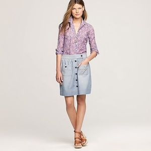 J Crew Chambray denim skirt with buttons